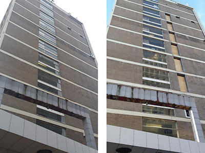 high rise concrete cutting before and after